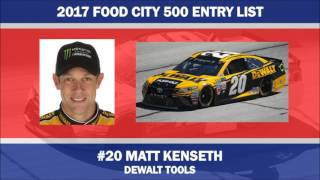 2017 Food City 500 Entry List