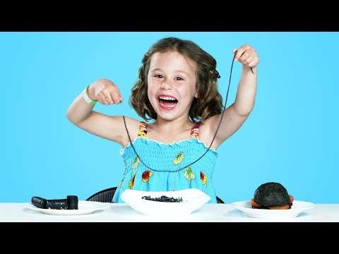 Kids Try All Black Colored Foods | Kids Try | HiHo Kids