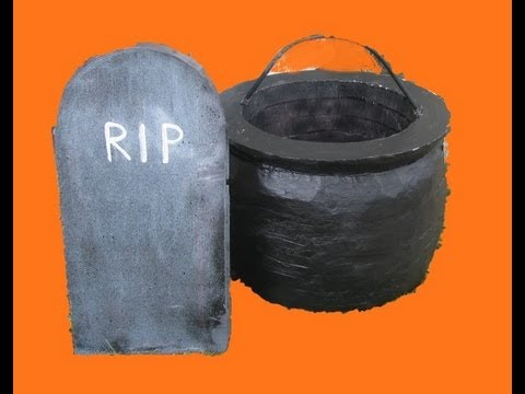 make a halloween cauldron or gravestone - YouTube