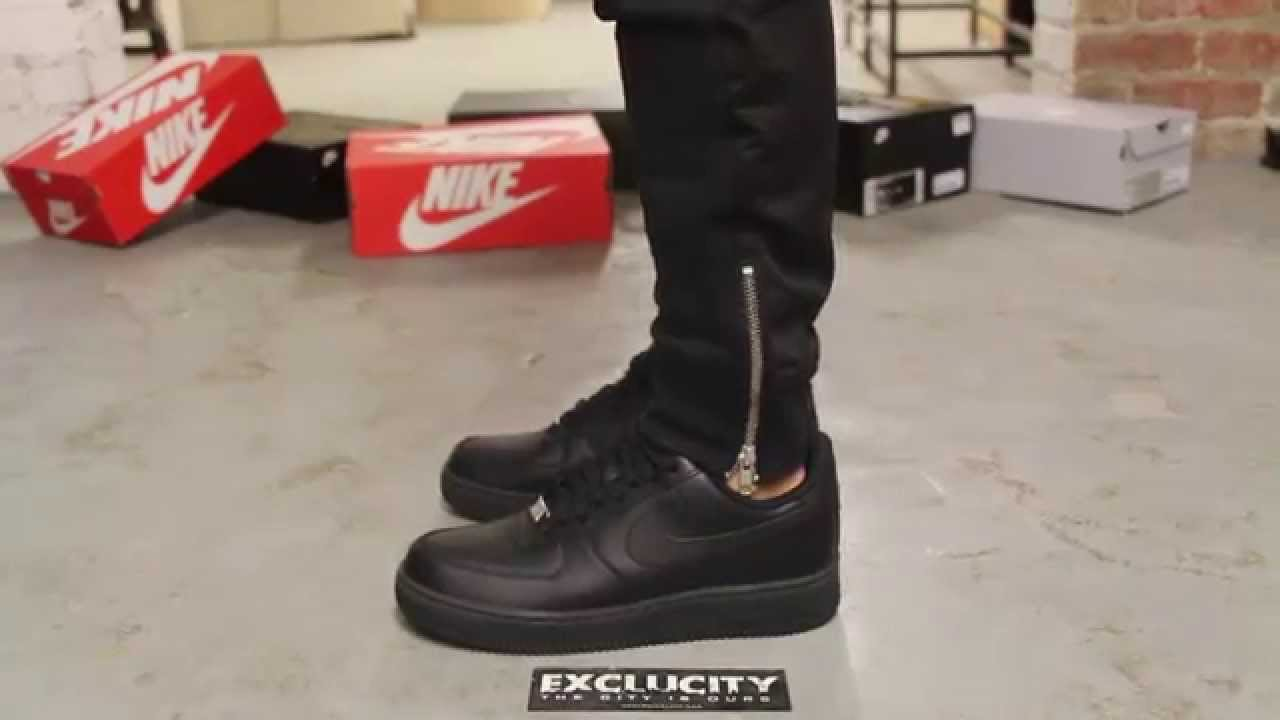 detailed look 6d71c 7c6aa Nike Air force 1 Low - Black - Black On-feet video at Exclucity - YouTube