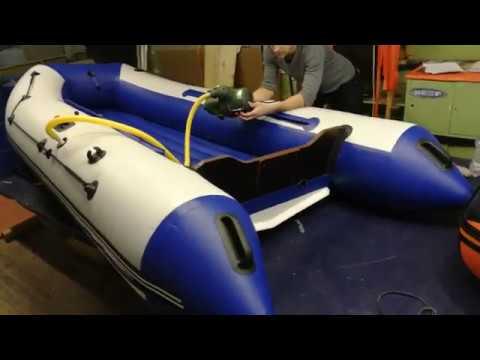 Лодка ПВХ Риф 335 НДНД Бело-синяя