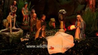 Manger scene of birth of baby Jesus