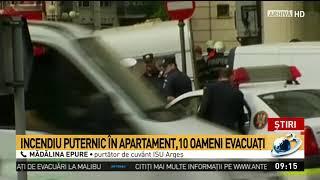 Incendiu puternic într-un bloc din Argeș. Mai multe persoane au fost evacuate de urgență