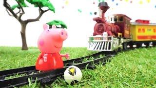 Видео с игрушками - Свинка Пеппа и игрушечный поезд