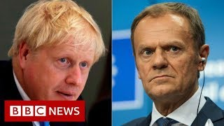 Boris Johnson says 'anti-democratic' backstop must be scrapped - BBC News