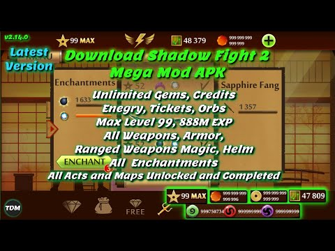 shadow fight 2 unlimited coins and gems hack - Shadow Fight 2 Mega Mod V2.15.0 | Max Level 99 All Weapons Enchantments Items Gems Coins Orbs Maps