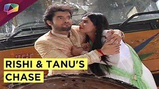 Who is chasing Rishi and Tanu in Kasam Tere Pyaar Ki ?