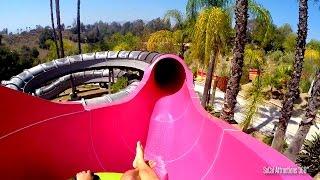 (HD POV) Dark Hole Tube Water Slide - Raging Waters 2015 - Water Park Ride