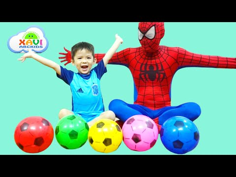 Thumbnail: Learn Colors w/ Spiderman and Soccer balls! Baby Xavi with Superheroes for Babies and kids