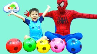 Learn Colors w/ Spiderman and Soccer balls! Baby Xavi with Superheroes for Babies and kids