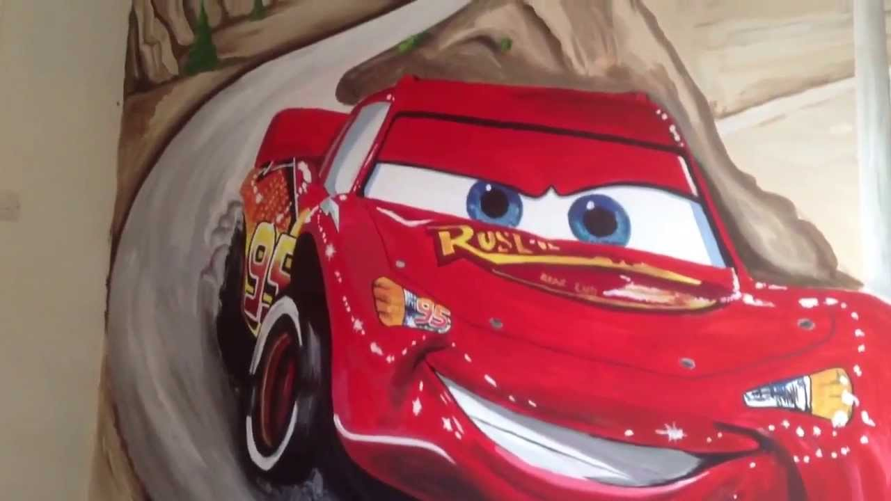 Disney Lightning McQueen Mural By Drews Wonder Walls !!!   YouTube Part 34