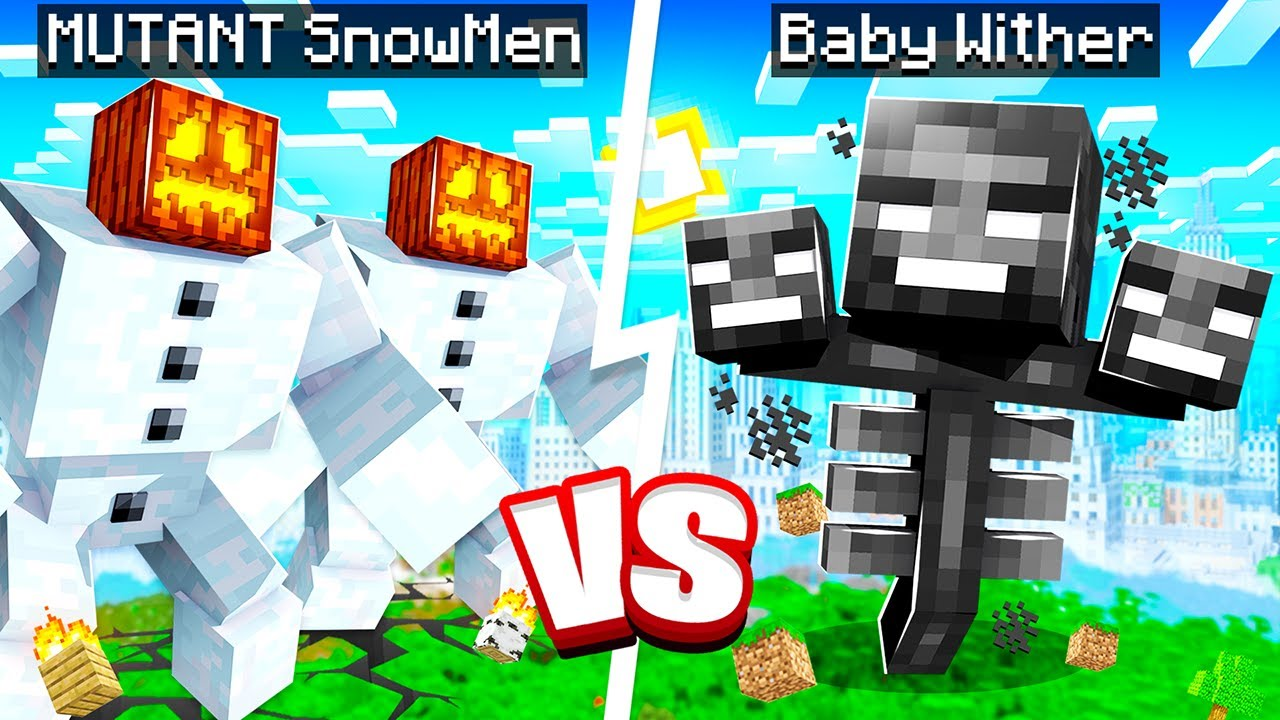 BABY WITHER vs MUTANT SNOWMAN in Minecraft!