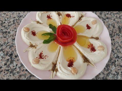 من أروع المقبلات حمص بالطحينة  من التحضير إلى تزيين الطبق 😉 لاتفوتوها