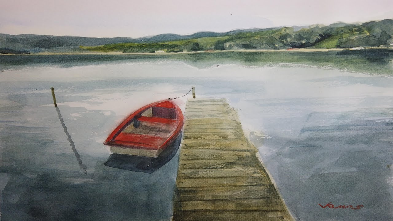 Red Boat Watercolour Painting - Slow Life Art - By Vamos