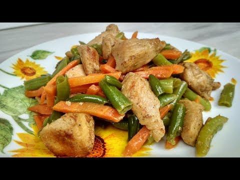 Куриное филе в соевом соусе со стручковой фасолью