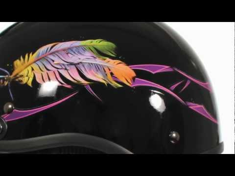 Outlaw X213 Gloss Feather DOT Half Helmet At LeatherUp.com