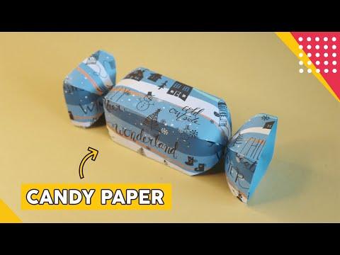 CARA MEMBUAT KOTAK KADO BENTUK PERMEN - HOW TO MAKE CANDY PAPER ORIGAMI GIFT EASY DIY