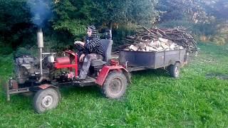 OGIEŃ NA TŁOKI :) Ciągnikiem sam kontra przyczepa drewna