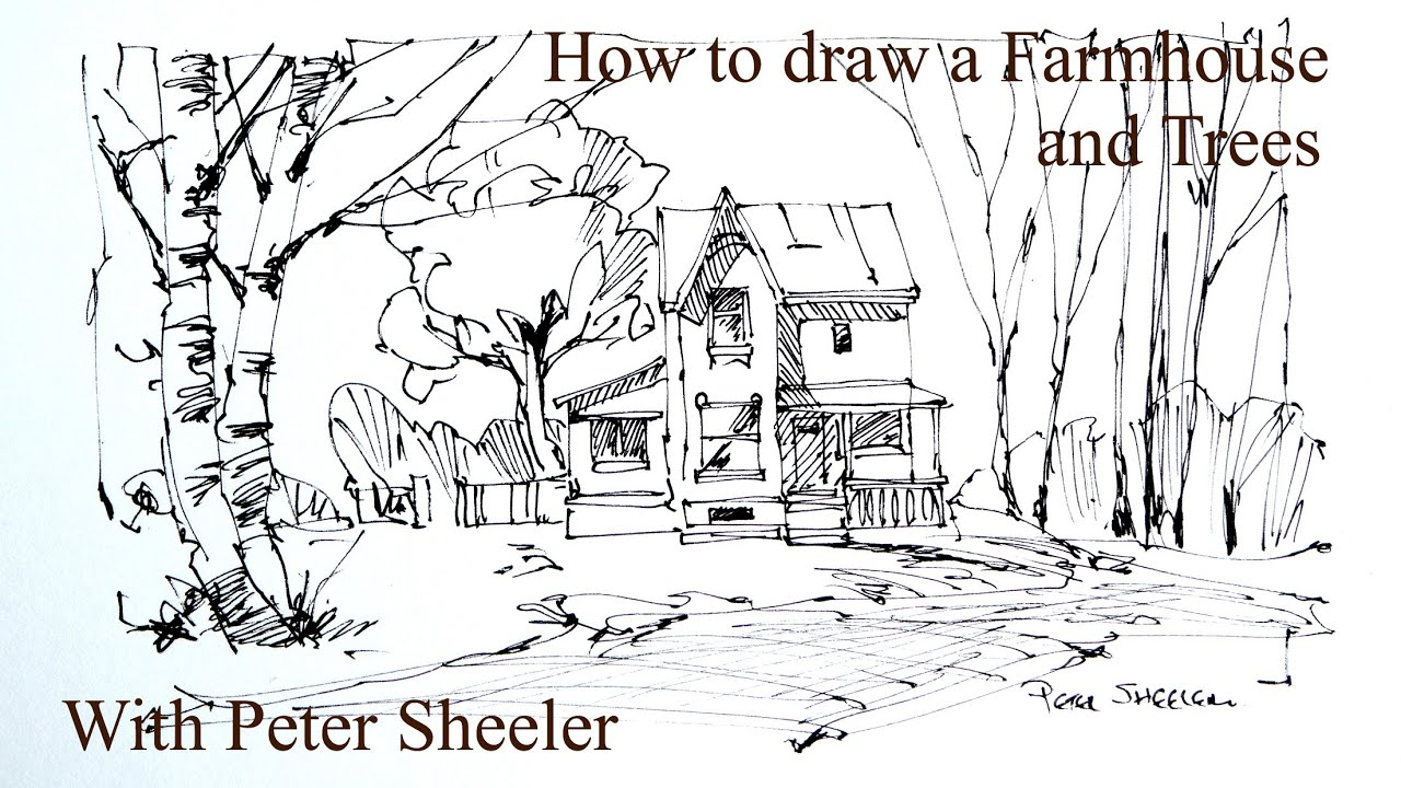 How to draw a farm house and birch trees 4x speed quick for How to draw a farmhouse