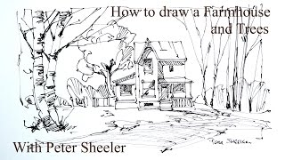 How to Draw a Farm House and birch trees. 4x speed, Quick Fun and Easy. With Peter Sheeler