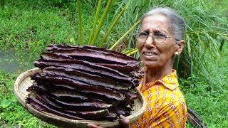 Purple Winged Beans Curry prepared in my Village by Grandma | Village Life