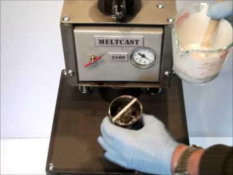 Vacuum casting gold, silver, palladium, titanium into graphite or plaster molds.