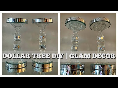 DIY DOLLAR TREE GLAM DECOR | CANDLE HOLDERS