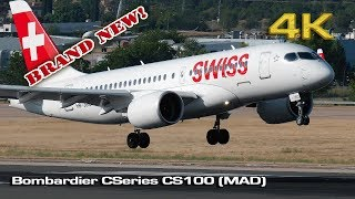Bombardier CSeries CS100 Swiss landing Madrid [4K]