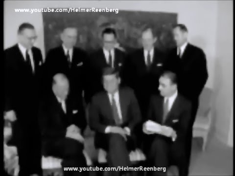 January 6, 1961 - President Elect John F. Kennedy meets Dr. Frederick Hovde and Abraham Ribicoff