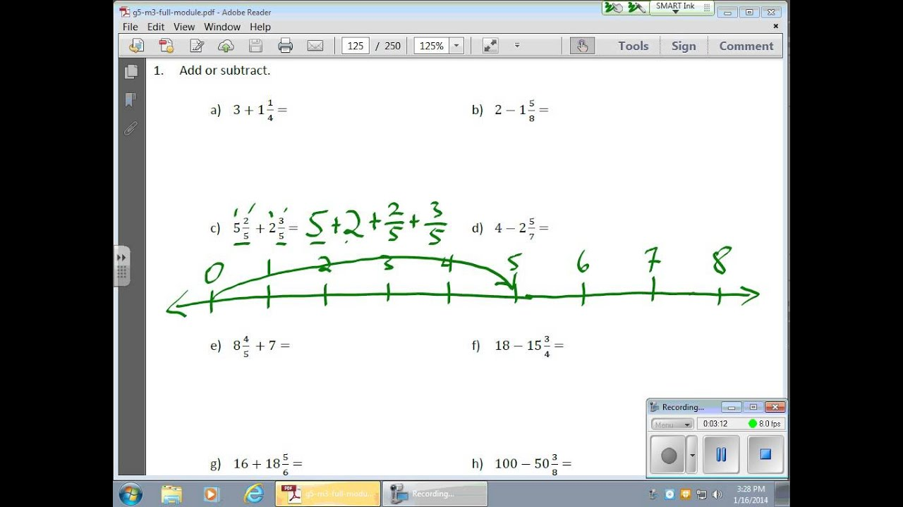 January 16 Module 3 Lesson 8 Adding And Subtracting Fractions With Whole Numbers