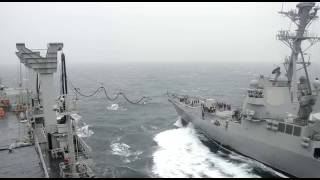 From youtube.com: Refuelling of ships at Exercise Malabar 2017. {MID-204971}