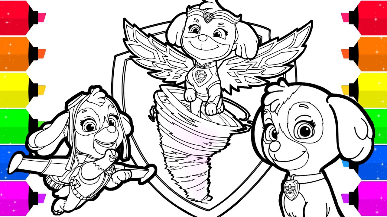 Paw Patrol Mighty Pups Skye Coloring Pages For Kids Youtube