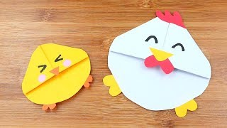 How to Make Easy Origami Chicken Bookmark - Origami Tutorial - Easy 3D Paper Chicken Bookmark