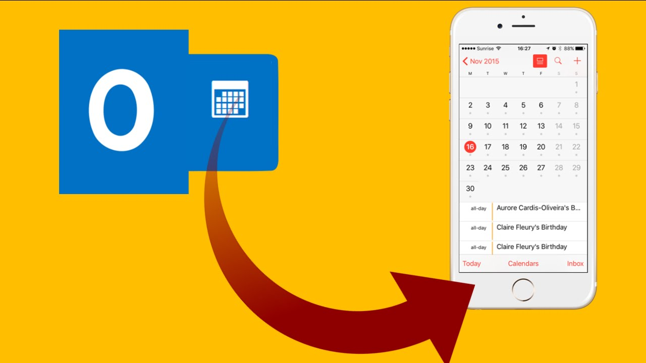 how to transfer calendar from outlook to iphone youtube