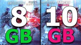 8GB vs 10GB RAM Test in 5 Games