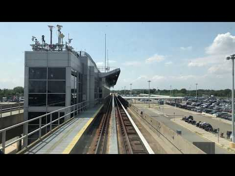 ⁴ᴷ JFK Airport AirTrain Full Ride from Terminal 1 to Howard Beach - Cab View