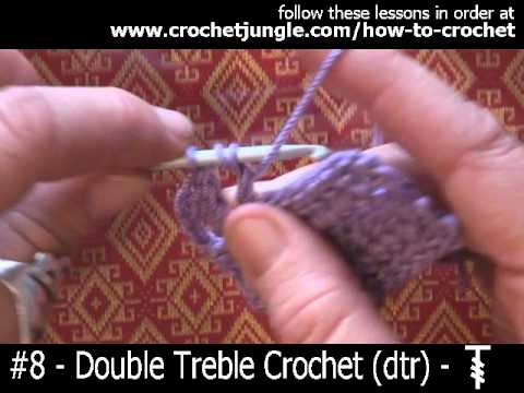 How to do a double treble crochet stitch (dtr) - tutorial #8 LEFT HANDED