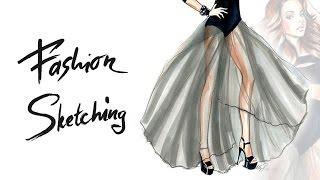 Fashion sketches: рисуем маркерами скетч девушки в пышной юбке, передаем фактуру и тона.