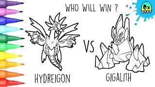 Pokemon Coloring Hydreigon Vs Gigalith I Fun Videos For Kids