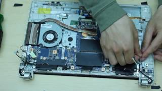 toshiba e45  e45-b4200 disassembly remove motherboard/keyboard/ram/hard drive etc