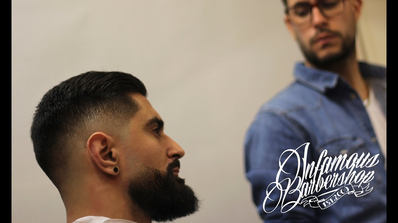Classic Men S Haircut Mid Skin Fade Faded Beard Comb Over
