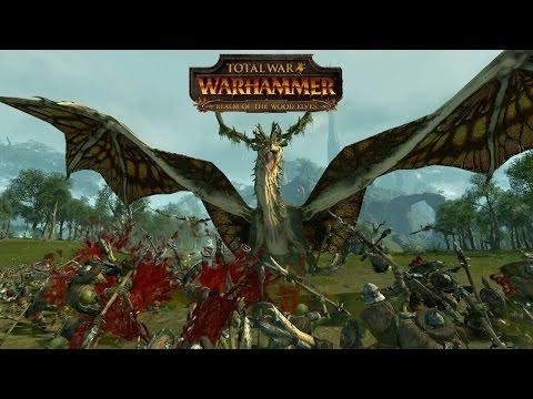 10 Forest Dragons Murder 6,000 Innocent Goblins - Total War Warhammer Wood Elves DLC Gameplay |