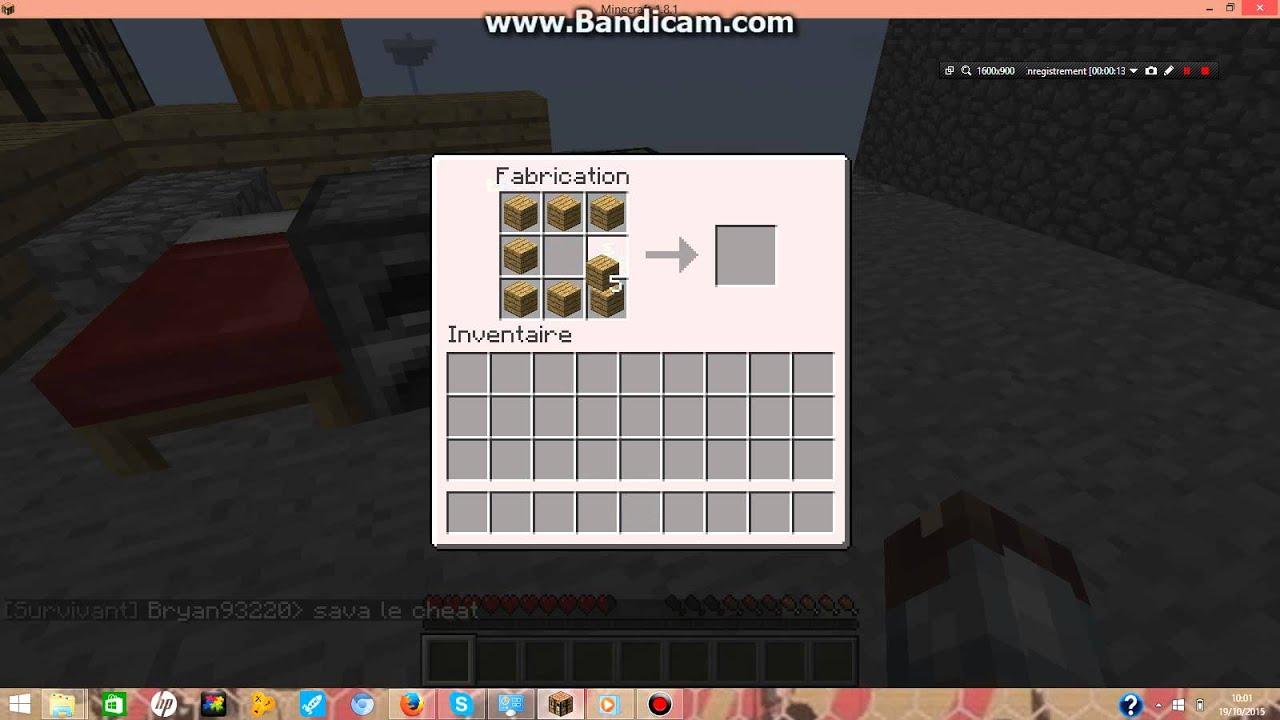 Comment faire un coffre sur minecraft youtube - Faire un lit minecraft ...