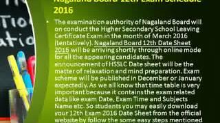 Nagaland Board 12th Date Sheet 2016 at nbsenagaland.com