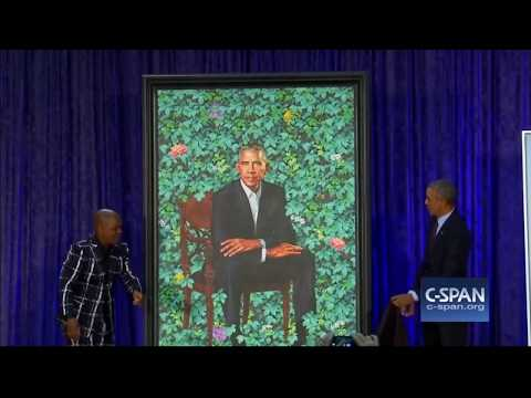 OBAMA PORTRAIT SHITS ON STAGE WHEN UNVEILED  FUNNY PARODY POOF