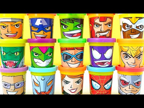 Play Doh Marvel Avengers 15 Can Heads Plastilina