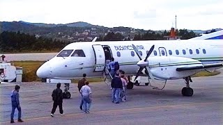 Classic Clips: Business Air SAAB 340 at Stord airport (1993)