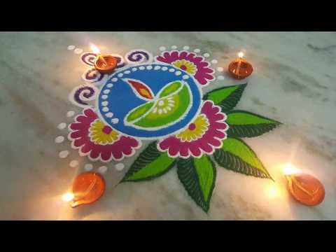 Diwali special  rangoli Chita mandanaspecial rangoli with colours muruja jhoti