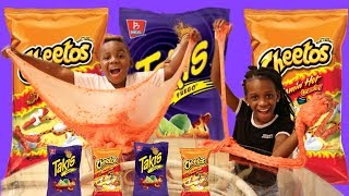 HOT CHEETOS SLIME VS TAKIS SLIME! DIY Super Crunchy Cheetos Slime!