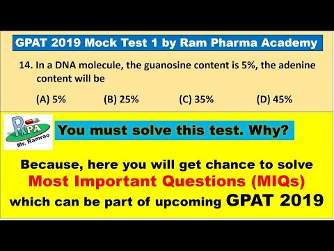 GPAT 2019 Model Paper 1 by Ram Pharma Academy